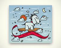 Perro surfer. Illustración.