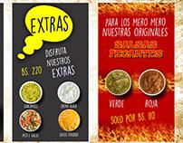 Fotografia y diseño de menú Mr.Takos