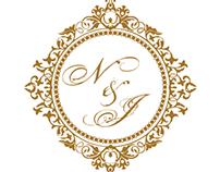 Convite de casamento, brasão e caixa para lembrancinhas