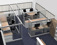Renders y amoblado de oficina GENTOFLEX.