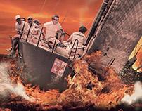 Barco en mar de fuego.