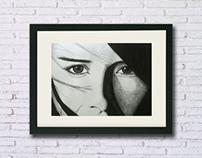 Dibujo tinta china - Rostro