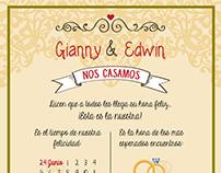 Invitación Matrimonio Gianny & Edwin