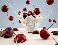 Cerezas en leche - Diseño 3D