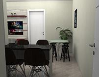 Composição sala de estar (painel e mesa)