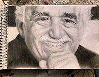 Dibujando Famosos Retrato de Gabriel García Marquez