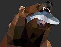 Bear & Fish - Low Poly Illustration