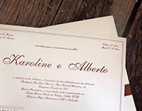 Convite de casamento - Karoline e Alberto