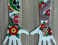 mãos de isopor