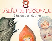 Diseño de personajes de Caperucita Roja y Oki el Akita