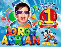 Birthday banner and invitation design