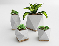 White Concrete Planter Collection