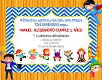 Invitación cumpleaño #3 Manuel Alessandro