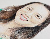 Retratos a lápiz y lápices de colores
