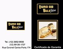 Cartão de Visita e Certificado de Garantia-Ouro do Vale