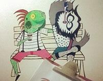 La iguana tomaba café con su amiga la búha