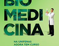 Anúncio para novo curso de Biomedicina