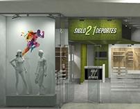 Desarrollo 3D para diseño interior comercial.