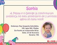 Convite aniversário Sophia 2 anos
