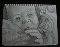 Retrato en grafito sobre papel