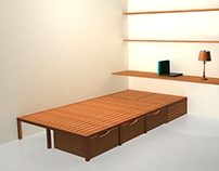 Bed with chest and shelf