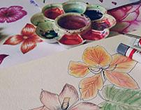 Ilustração Manual p/ estampas - Watercolor