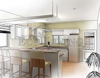 Dining Room - Kitchen Interior Rendering