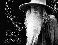 Polygon art of Gandalf the grey