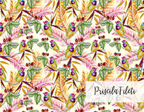 Color Birds - Tropical Watercolor Pattern