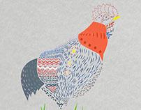 Ilustração de galinha, processo de criação.