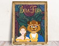 """Poster """"A Bela e a Fera"""" - Personagens em Flat Design"""