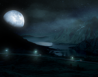 Concept Art and Matte Painting Drive in The Mountains