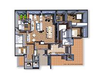 Visualización arquitectónica para apartamento.