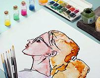 Profile faces // watercolor
