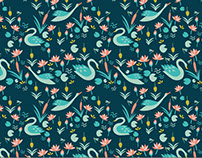 Forest and swans pattern. Textil design