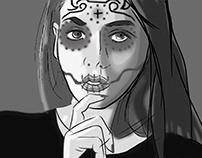 sugar skull portrait drawing process