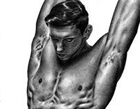 Ilustración Hiperrealista - Contraste B&N Masculino