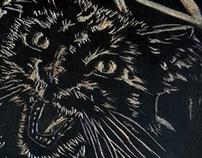 Xilografia - Gato entalhado
