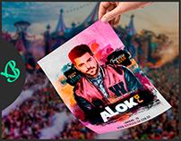 FLYER DE ESTUDO PARA DIVULGAÇÃO DE EVENTO COM DJ ALOK