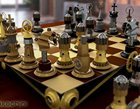 chess steampunk 3d