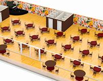 3d render - Maqueta restaurante Sala italiana