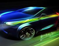 3/4 Drowing + PS Car Concept