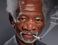 Caricature of Morgan Freeman