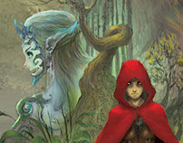 Pale Gir in Red Cloak - fairy Tale - Cover Illustration