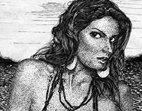 Tlanchana. Ink drawing