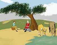 Ilustracion Noel Tomando Mate