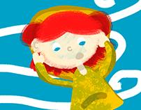 Blowing wind - Children Illustration