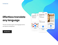 "A landing page for ""Translate Now"" App"