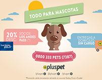 Piezas gráficas para tienda de animales - PLUSPET