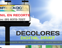 Website for decolores.com.mx, a Print Company